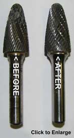 Carbide bur resharpening - Click to enlarge picture...